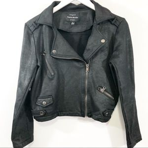 Haute Monday black cropped moto jacket S